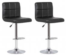 Pair of 2 Milan Black Faux Leather Padded Seat Bar Stools 1/2 Price Deal